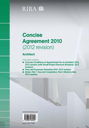 RIBA Concise Agreement 2010 (2012 Revision): Architect (Paperback) book cover