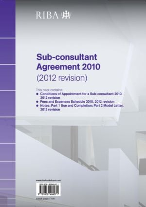RIBA Sub-consultant Agreement 2010 (2012 Revision) (Paperback) book cover