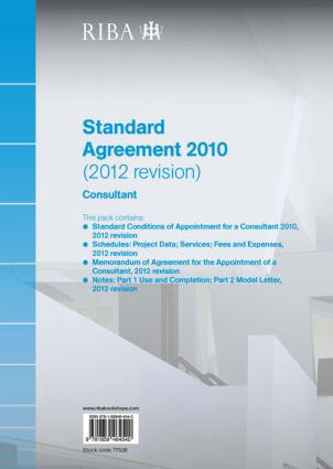 RIBA Standard Agreement 2010 (2012 Revision): Consultant (Pack of 10) (Paperback) book cover