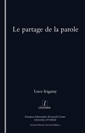 Le Partage De La Parole: 1st Edition (Paperback) book cover