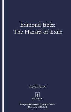 Edmond Jabes and the Hazard of Exile: 1st Edition (Paperback) book cover