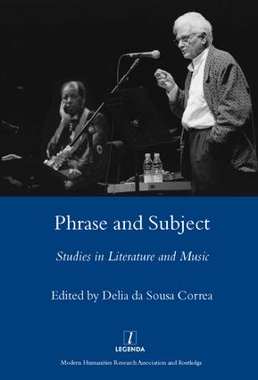 Phrase and Subject: Studies in Music and Literature, 1st Edition (Hardback) book cover