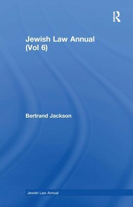 Jewish Law Annual (Vol 6): 1st Edition (e-Book) book cover