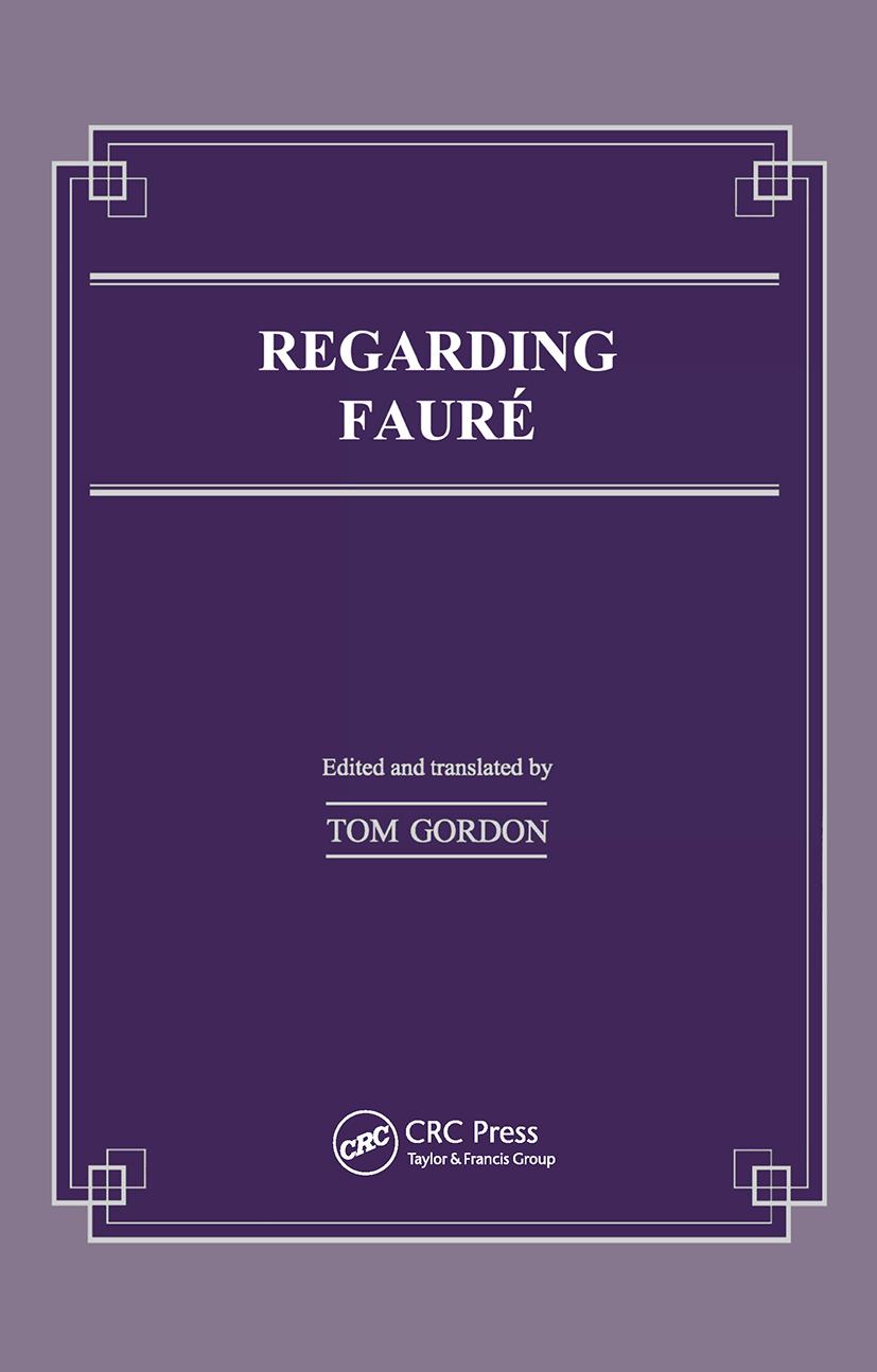 Regarding Faure (Hardback) book cover