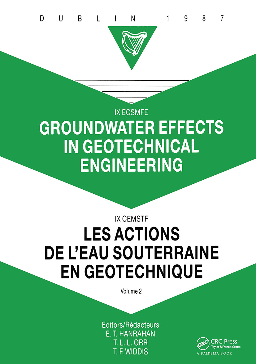 Groundwater effects in geotechnical engineering, volume 2: Proceedings of the 9th European conference on soil mechanics and foundation engineering, Dublin, 31 August - 03 September 1987, 1st Edition (Hardback) book cover