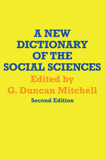 A New Dictionary of the Social Sciences book cover