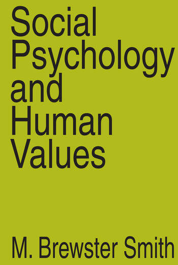 Social Psychology and Human Values book cover