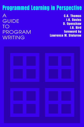 Programmed Learning in Perspective A Guide to Program Writing book cover