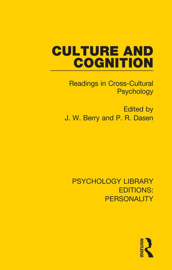 Culture and Cognition Readings in Cross-Cultural Psychology book cover