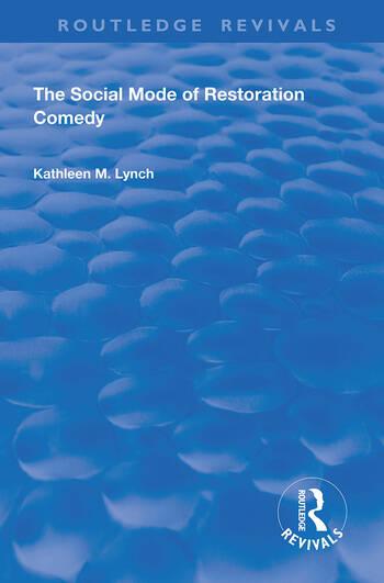 Social Mode of Restoration Comedy book cover
