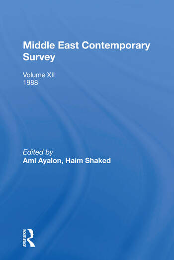 Middle East Contemporary Survey, Volume Xii, 1988 book cover