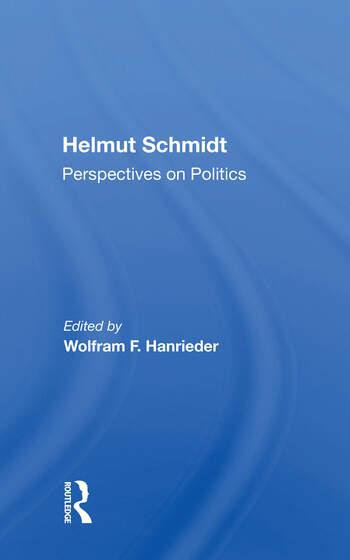 Helmut Schmidt: Perspectives On Politics book cover