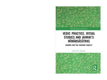 Vedic Practice, Ritual Studies and Jaimini's Mīmāṃsāsūtras Dharma and the Enjoined Subject book cover