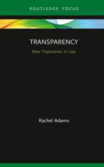 Transparency New Trajectories in Law book cover