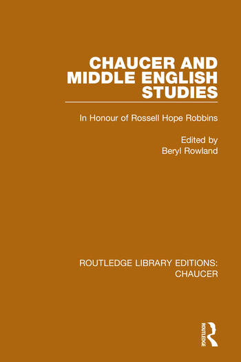 Chaucer and Middle English Studies In Honour of Rossell Hope Robbins book cover