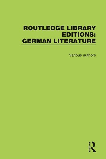 Routledge Library Editions: German Literature book cover