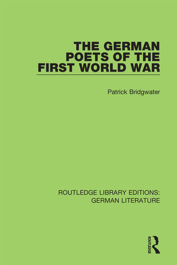 The German Poets of the First World War book cover
