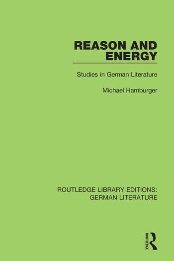 Reason and Energy Studies in German Literature book cover