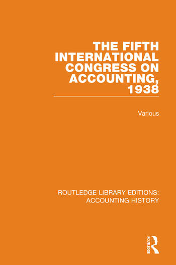 The Fifth International Congress on Accounting, 1938 book cover