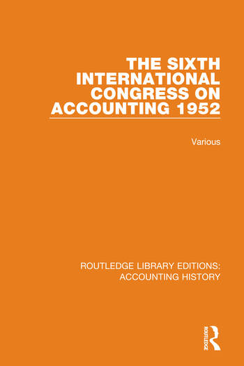 The Sixth International Congress on Accounting 1952 book cover