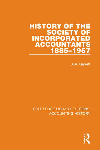 History of the Society of Incorporated Accountants 1885-1957 book cover