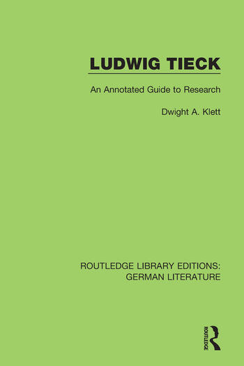 Ludwig Tieck An Annotated Guide to Research book cover