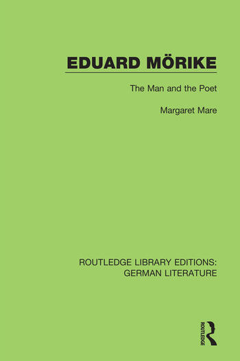 Eduard Mörike The Man and the Poet book cover