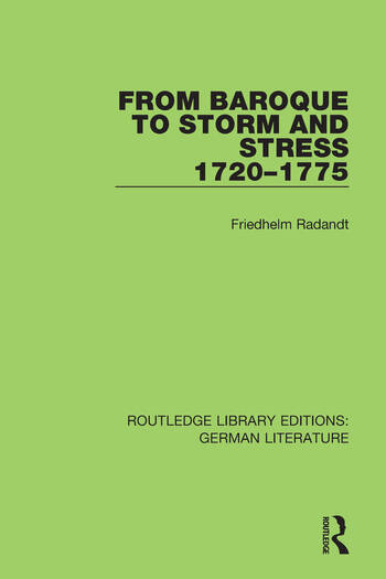 From Baroque to Storm and Stress 1720-1775 book cover