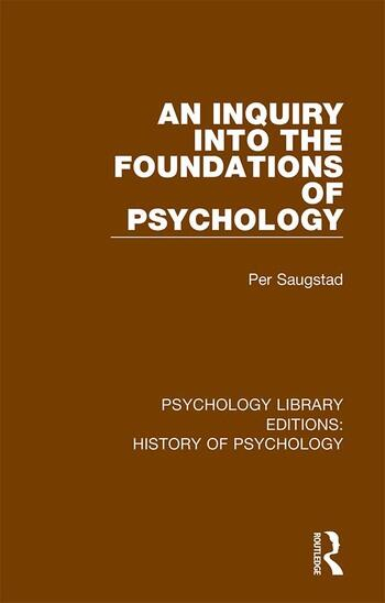 An Inquiry into the Foundations of Psychology book cover