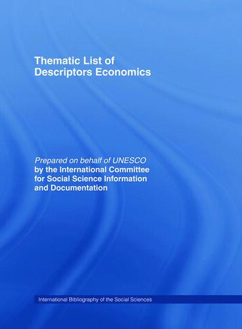 Thematic List of Descriptors: Economics book cover
