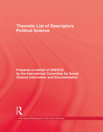 Thematic List of Descriptors - Political Science book cover