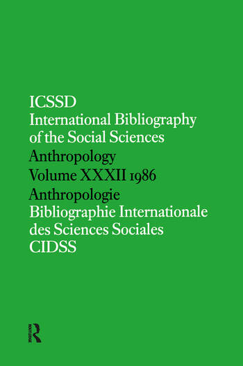 IBSS: Anthropology: 1986 Vol 32 book cover