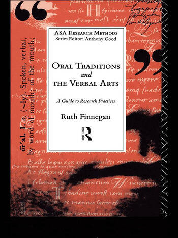 Oral Traditions and the Verbal Arts A Guide to Research Practices book cover