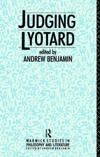 Judging Lyotard book cover