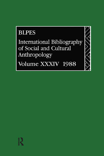 IBSS: Anthropology: 1988 Vol 34 book cover