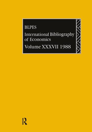 IBSS: Economics: 1988 Volume 37 book cover