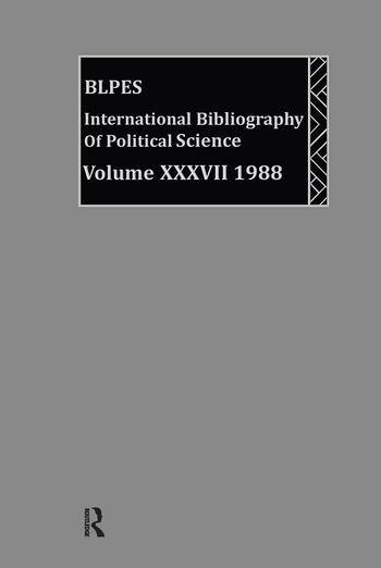 IBSS: Political Science: 1988 Volume 37 book cover