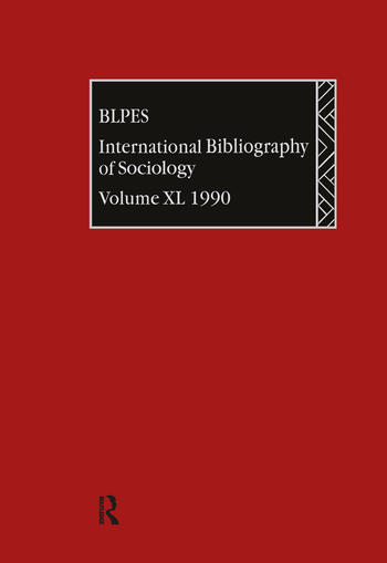 IBSS: Sociology: 1990 Vol 40 book cover
