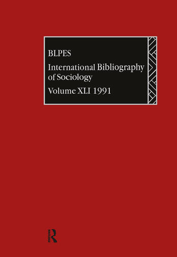 IBSS: Sociology: 1991 Vol 41 book cover