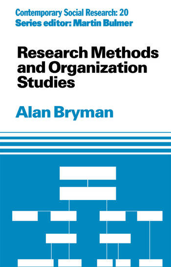 Research Methods and Organization Studies book cover