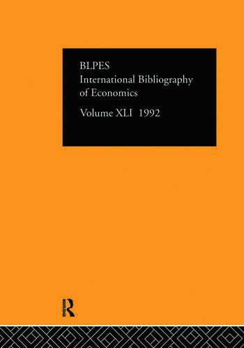 IBSS: Economics: 1992 Vol 41 book cover