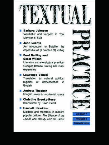 Textual Practice Volume 7, Issue 2 book cover