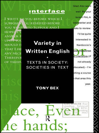 Variety in Written English Texts in Society/Societies in Text book cover