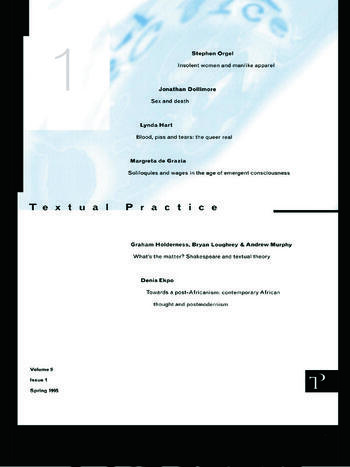 Textual Practice Volume 9 Issue 1 book cover