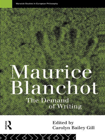 Maurice Blanchot The Demand of Writing book cover