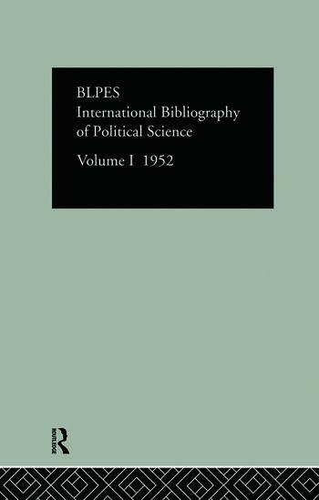 Intl Biblio Pol Sc 1952 Vol 1 book cover