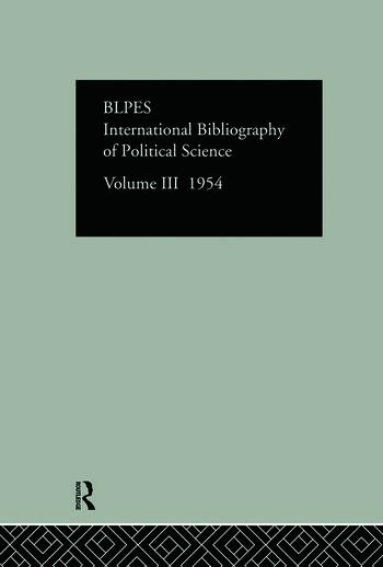 Intl Biblio Pol Sc 1954 Vol 3 book cover