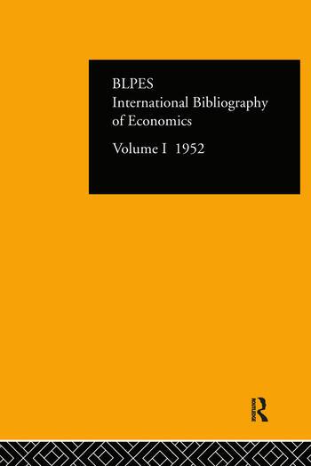 Intl Biblio Econom 1952 Vol 1 book cover