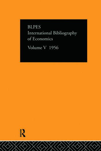 Intl Biblio Econom 1956 Vol 5 book cover