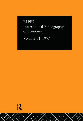 Intl Biblio Econom 1957 Vol 6 book cover